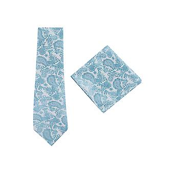 JSS Turquoise Paisley Tie And Pocket Square Set