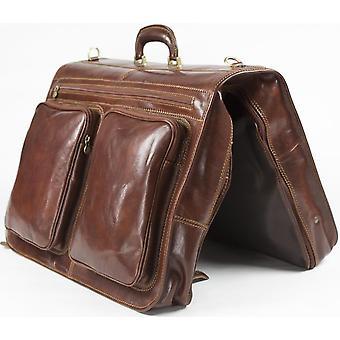 Cuero italiano genuino inches portatrajes cabina traje portador el equipaje de mano marrón