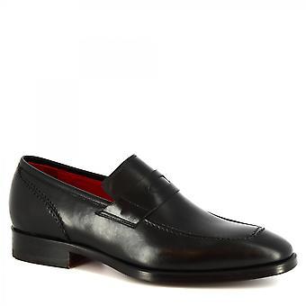Leonardo Scarpe Uomo's fatte a mano eleganti mocassini scarpe nero pelle di vitello
