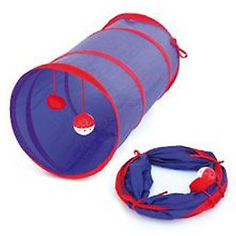 Freedog Flexitunnel blå & gule 25X55Cm (katte, legetøj, tunneler)