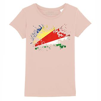 STUFF4 Girl's Round Neck T-Shirt/Seychelles Flag Splat/Coral Pink