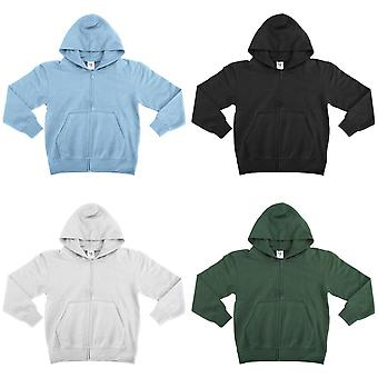SG Kids/Childrens Unisex Plain Full Zip Hooded Sweatshirt / Hoodie