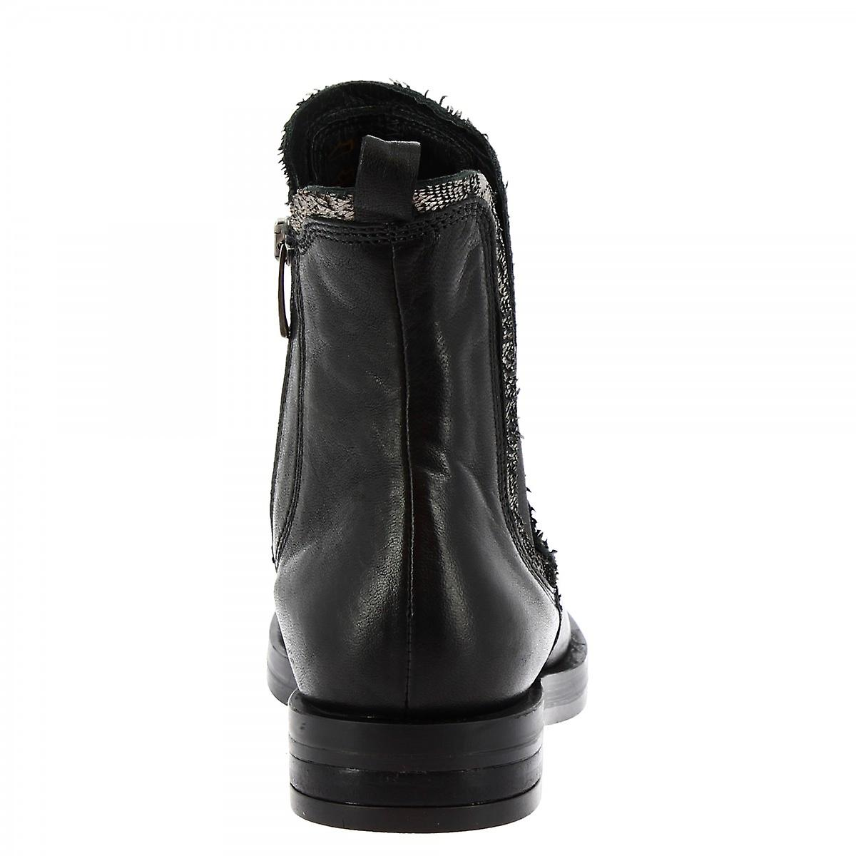 Leonardo Shoes Women's Handmade Fashion Chelsea Boots Black Calf Leather