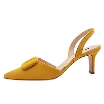 Högl 7-10 6732 Mia Stylish Pointed Toe Slingback Shoes In Yellow