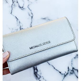 Michael kors jet set travel large trifold wallet silver