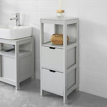 SoBuy Boden stehendes Badezimmer Aufbewahrungsschrank Einheit mit 1 Regal und 2 Schubladen grau,FRG127-HG