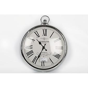 42CM ANTIQUE ROUND SILVER COLOUR WALL CLOCK ROMAN NUMBERS