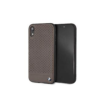 BMW Perforierte Leder Backcover Case iPhone XR - braun