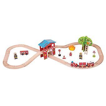 Bigjigs Wooden Railway Fire Station Train Set