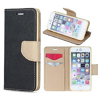 Samsung Galaxy A40 - Smart Fancy Mobilplånbok - Svart/Guld