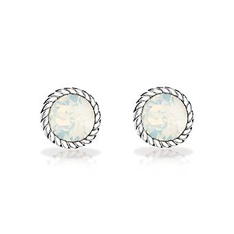 Tuscany Silver Earrings for Women's Stud in Silver Sterling 925 - with Opal