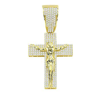 925 sterling silver Micro Pave pendant - WISPY JESUS gold