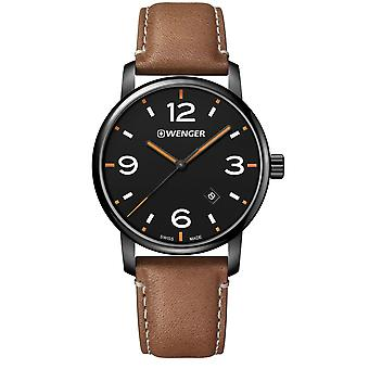 Wenger Urban Metropolitan Quartz Black Dial Brown Leather Strap Men's Watch 01.1741.134