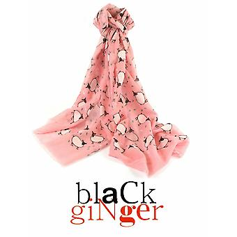 """Black Ginger"" Pink Scarf with Sheep Print Design"
