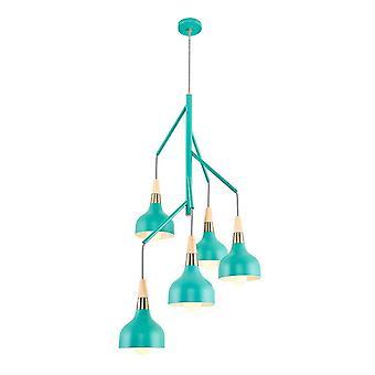Luz verde Luz Luz Lámpara de Suspensión Verde, Roble, Metal Latón, Madera 52x52x160 cm