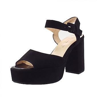 Peter Kaiser Felicia Ankle Strap Platform Sandals In Black Suede