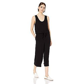 Tägliche Ritual Frauen's Supersoft Terry ärmellose Weitbein Overall, schwarz, Medium