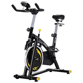 HOMCOM Stationary Exercise Bike with 10KG Flywheel Aerobic Training Indoor Cycling Upright Cardio Workout Home Fitness Racing Machine with LCD Monitor Phone Holder