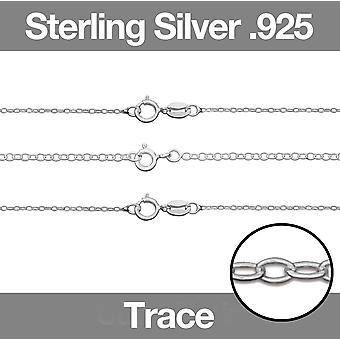 Sterling Silver .925 Womens Halsband TRACE Chain 16