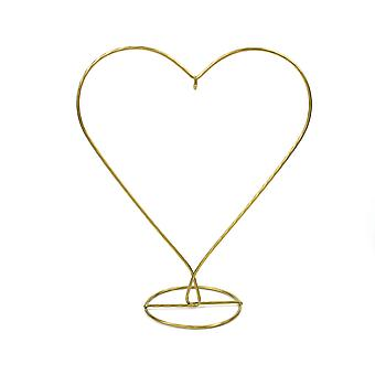 Gold Heart Shaped Metal Bauble & Ornament Display Stand - 28cm