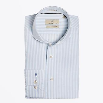 Thomas Maine  - Cotton Stripe Shirt - White/Blue