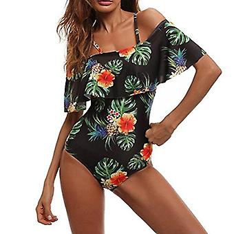 Center Link Media Women One Piece Tropical Flower Badpak Off Shoulder Bathi ...