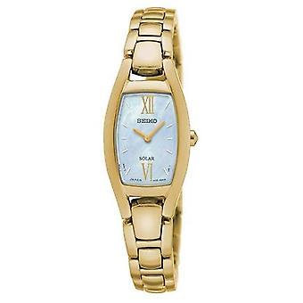 Seiko Solar Goldton Armband Damenuhr mit Mutter der Perle Dial - Sup314p1