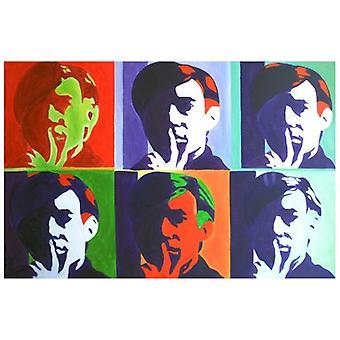 Öl auf Leinwand - Malerei auf Hand bemalt Leinwand - Mosaik der Gesichter - moderne Malerei Aufenthalt