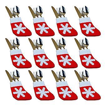 12Pcs Christmas Mini Snowflake Stockings Red 8x14cm