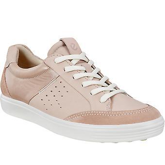 Ecco Womens Soft 7 läder mocka Casual Mode Utbildare Sneakers - Rose damm