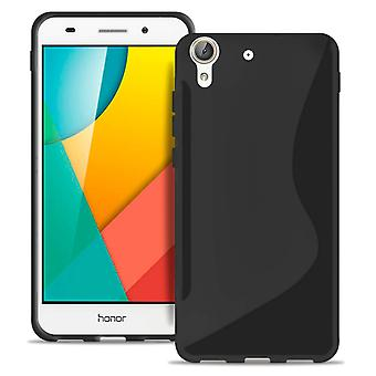 S-Line Slim Cover für Huawei Y6II Compact Light Rubber gemustert Ultra Thin Black