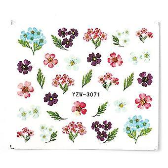 ملصق الأظافر الماء وملصق، زهرة شجرة ورقة الأخضر الصيف بسيط ديي المنزلق