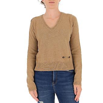 Gucci 628411xkbh92184 Damen's Beige Cashmere Pullover