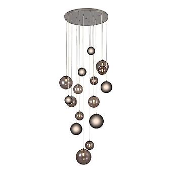 Luminosa Lighting - Colgante de racimo de techo, 16 x G9, cromo pulido, vidrio ahumado