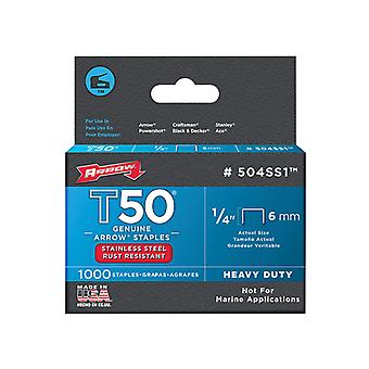 Arrow T50 Staples Stainless Steel 504SS 6mm (1/4in) Box 1000 ARRT5014SS