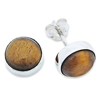 Stud Oorbellen Zilver 925 Sterling Zilver Tiger Eye Brown Stone (Nr: MOS 59-18)