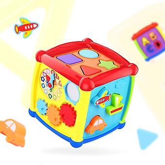 Multifunktionale musikalische Kleinkind Baby Box, Musik Klavier Würfel geometrische Blöcke