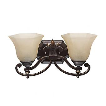 Country Brown Wall Light 2 Lampen 18 Cm