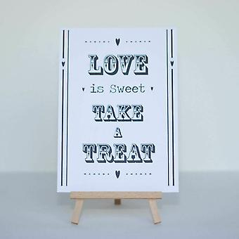 Candy Sweet Bar signe blanc « Amour est doux » signe et chevalet Stand - mariage v2