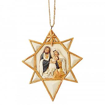 Jim Shore Heartwood Creek Black & Gold Nativity Star Hanging Ornament