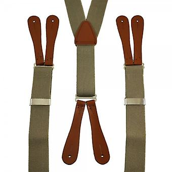 Krawatten Planet Plain Beige High Back Leder End Hosenträger