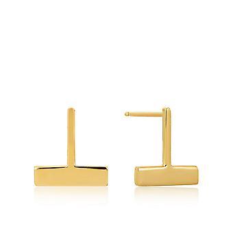 أنيا هاي فضة لامعة الذهب مطلي إسقاط تي بار مسمار الأقراط E008-09G