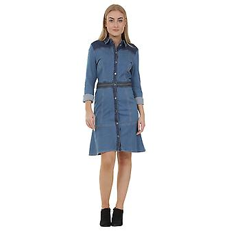 Long sleeve button front denim dress with stretch