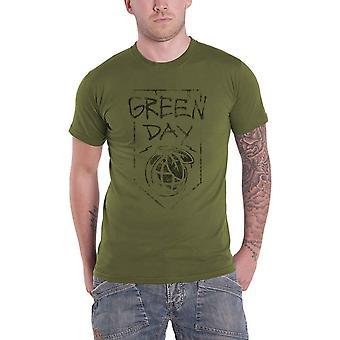 Green Day T Shirt Grenade Band Logo new Official Mens Organic Military Green