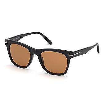Tom Ford Brooklyn TF833 01E Glänzende schwarz/braune Sonnenbrille
