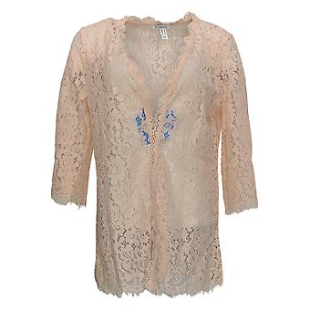 Isaac Mizrahi Live! Damen's Top Open Front Spitze Kimono Rosa A305239