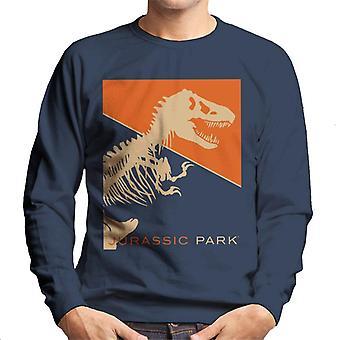 Jurassic Park T Rex Skeleton Oranssi Tausta Men's Collegepaita