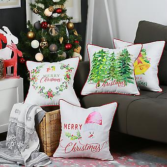 Merry Christmas Square Throw Pillow Cover