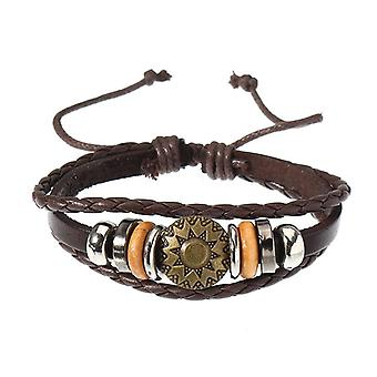 Men  Punk Bracelet Vintage Leather Round Woven Bracelet