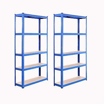 2 Bays 180 x 90 x 30cm Blue 5 Tier Boltless Shelving Unit (175kg Load Weight Per Tier)